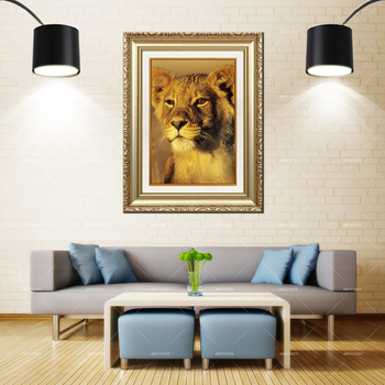 Artcozy Golden Frame Abstract  baby lion Waterproof Canvas Painting