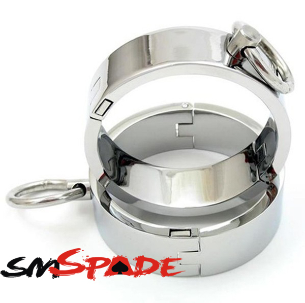 Silver Stainless Steel Handcuffs and ankle cuffs with Lock,metal wrist cuffs for sex restraint metal handcuffs with chain creative handcuffs style keychain silver