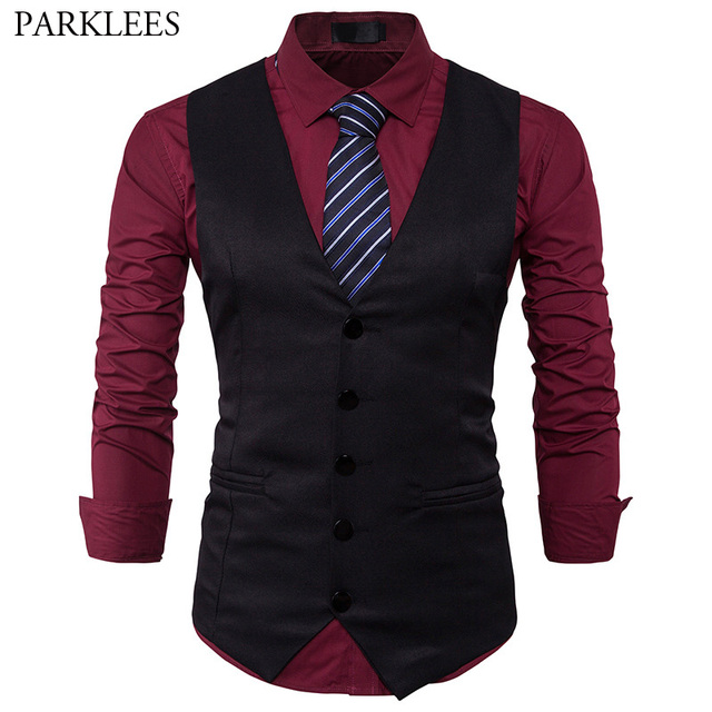 6c51907b647 Black Vest Men 2017 Brand New Mens Vest Suit Slim Fit Men Waistcoat Casual  Business Wedding