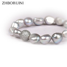 ZHBORUINI Pearl Bracelet Crystal Ball Baroque Charm Bracelet Natural Freshwater Pearl Grey White Pearl Jewelry For Woman Gift