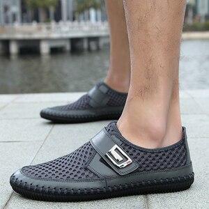 Image 5 - MAISMODA 2018 夏通気性メッシュの靴メンズカジュアルシューズ本革スリップブランドファッション夏の靴ビッグサイズ YL268
