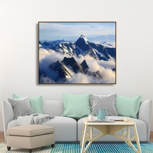 Laeacco Canvas Calligraphy Painting Alps Alpine Landscape of Mountain Posters and Prints Wall Art Picture for Living Room Decor