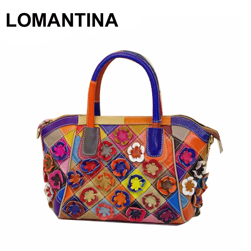 100% Genuine Leather Handbags Women Fashion Patchwork Flowers Bags Shoulder Bag Tote Colorful - LOMANTINA Store store