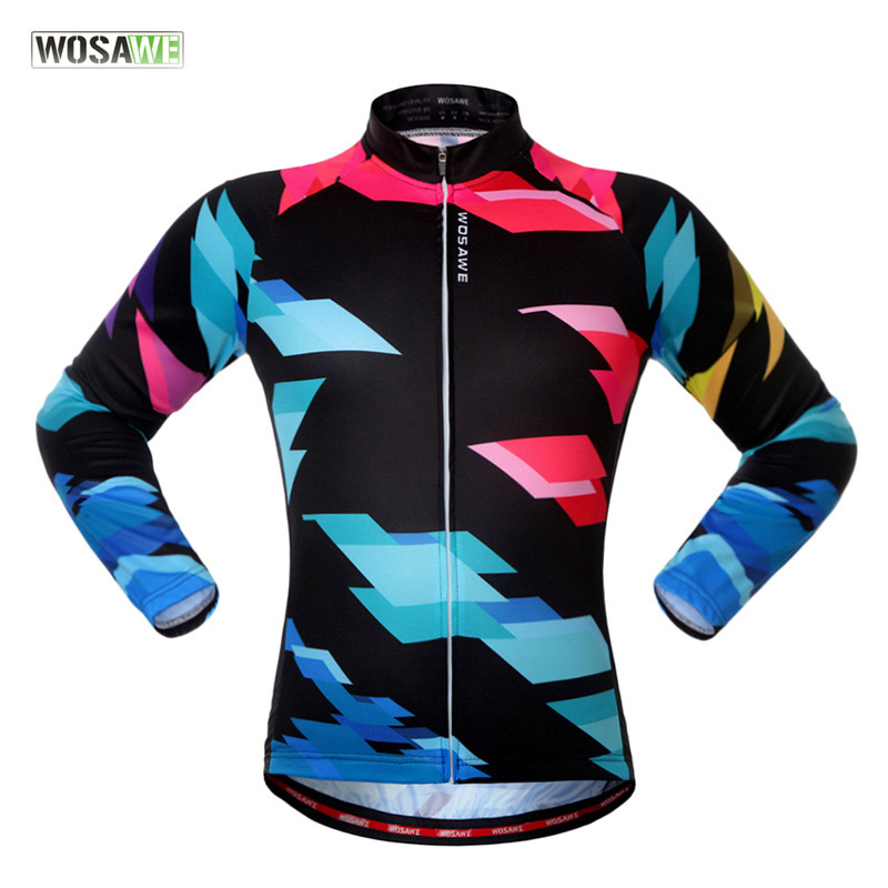 WOSAWE New Unisex Bicycle Clothing Polyester Cycling Jerseys Breathable Sports Jersey Long Sleeves Sports Coat ciclismo Casaco