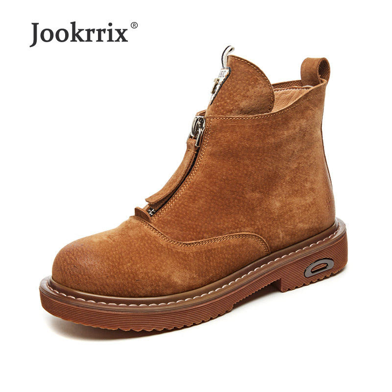 Jookrrix Shoes Women Fashion Brand Real Leather Martin Boots Lady chaussure Autumn Female footware Girl Ankle Boots Front Zipper