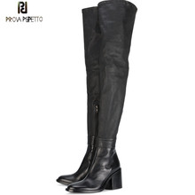 Prova Perfetto Brand Design Genuine Leather Over The Knee Boots Woman High Heels Black High Boots Women's Shoes Plus Size 33-45