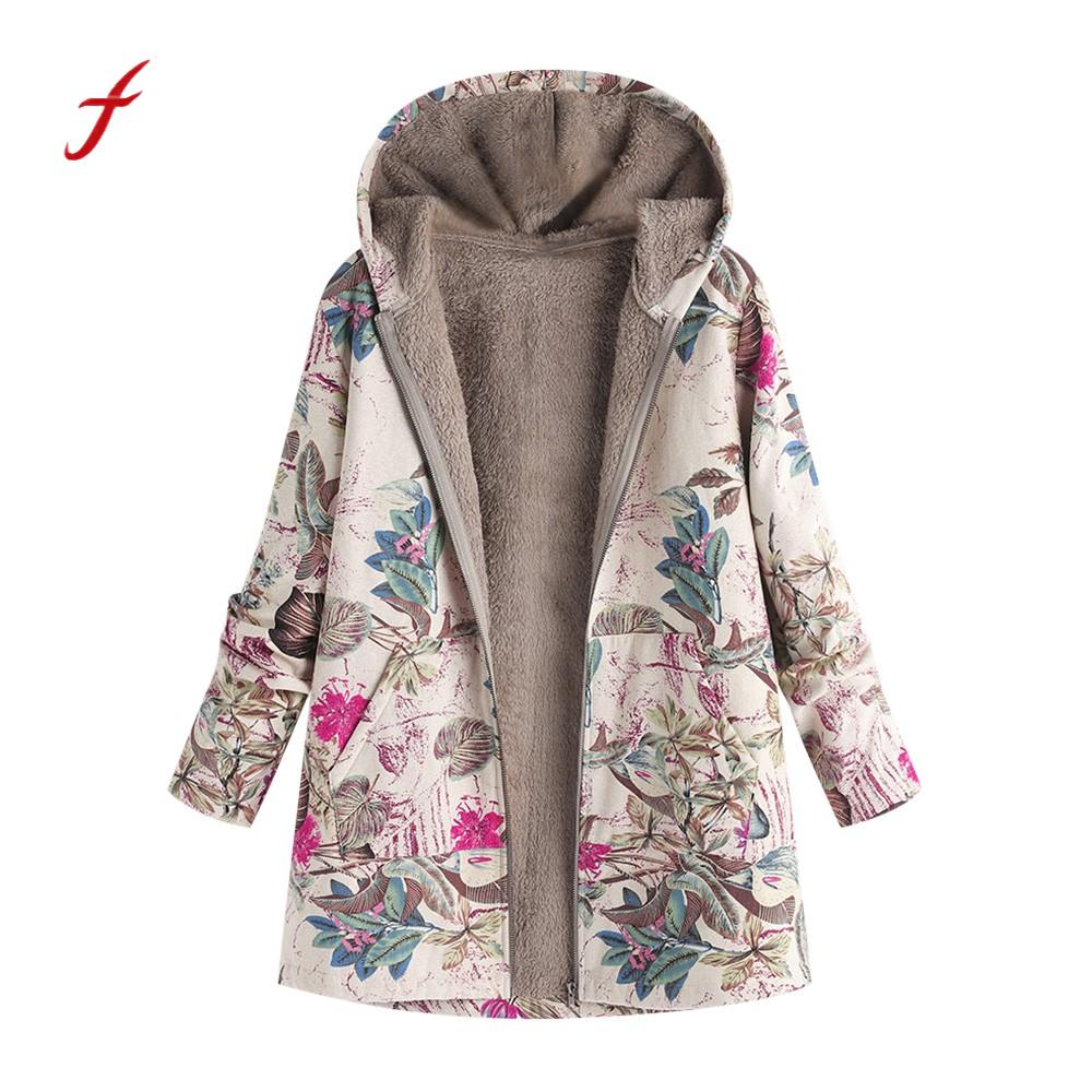 Hooded Coats Cotton Winter Jacket Womens Outwear Coat Warm Outwear Floral Print Hooded Pockets Vintage Oversize Coats