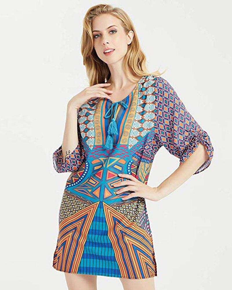HEE GRAND 2020 Bohemian Dress Women Sexy Deep V-neck Half Sleeve Summer Dress Lace-up Party Dress Loose  Vestidos LQL3674