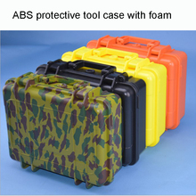 2018 hot sale protective case ABS Tool case toolbox Impact resistant sealed waterproof camera case with cut foam shipping free ip67 waterproof shockproof black compressive durable toolbox with full cubes foam inserts