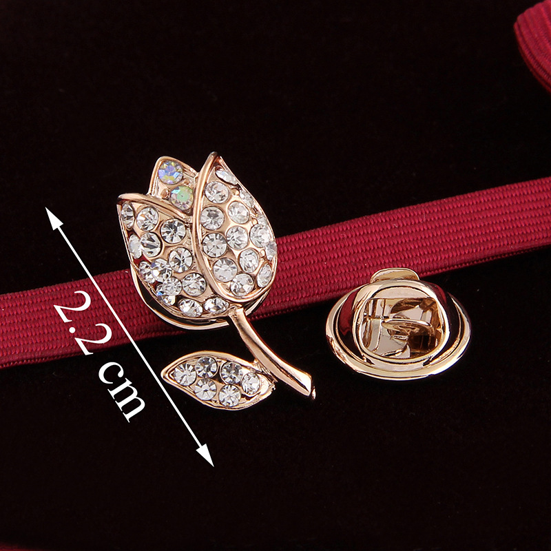 ④Jewelry Accessories Gold Silver Tulip Flowers Shape Scarf Crystal ...