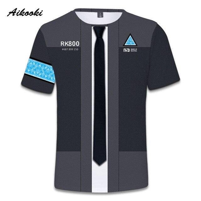 Aikooki футболки Детройт стать человеком мужские/женские 3D футболки повседневные мужские Harajuku 3D RK800 футболка мужские повседневные топы