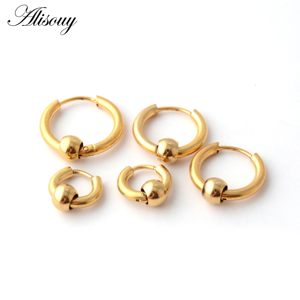 Alisouy Punk Gold Stainless Steel Hoop Earrings Huggie Simple Style Hoop Earring Circle Fashion Earrings for Women Man Jewelry