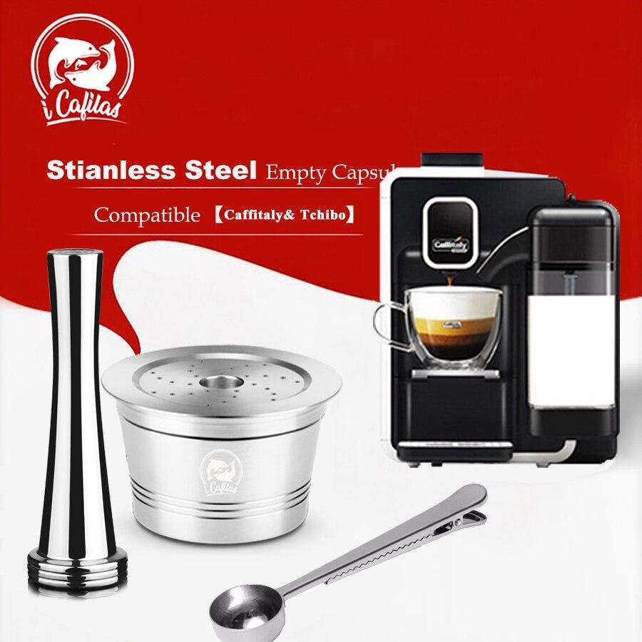 Aço Inoxidável ICafilas Recarregáveis Reutilizável Cápsula de Café Cafeteira Filtro para Máquina Caffitaly & Tchibo Cafissimo Minipresso