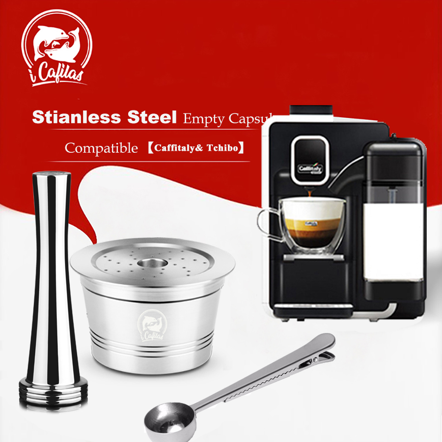 ICafilas Stainless Steel  Refillable Reusable Coffee Capsule Cafeteira Filter for Caffitaly &Tchibo Cafissimo Minipresso Machine|Coffee Filters| |  - title=