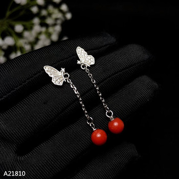 KJJEAXCMY fine jewelry 925 pure silver inlaid natural red coral fire color female fringe Tassel Earrings can be detected