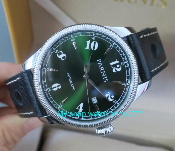 42mm Parnis Sapphire Crystal Japanese 21 jewels Automatic Self-Wind Movement Mechanical watches 5Bar Green dial Men's watches t8 цена 2017