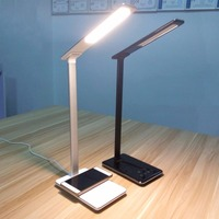 QI Wireless Charger Phone Charger USB Light Rechargeable Desk Lamp Eye Care LED Light Student Reading Lamp for Smart Phones