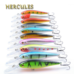 Hercules 10PCS Minnow Fishing Lure 11cm 10.5g Aritificial Wobblers Hard Plastic Baits Diving 2.5-4m Pesca Fish Wobbler Tackle