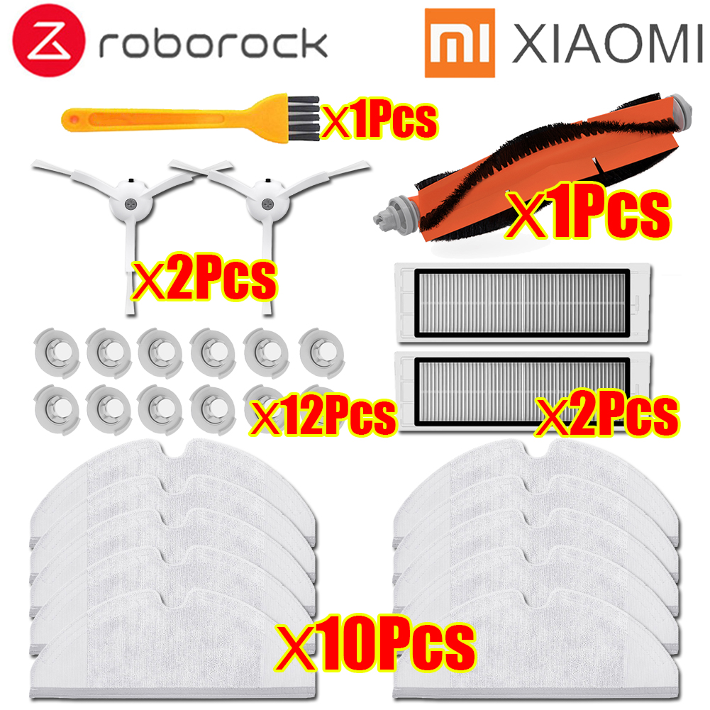For Xiaomi Roborock S50 Accessories Xiaomi Vacuum Cleaner Parts HEPA Filter Mop Cloths Main Brush Side Brush Water Tank Filter