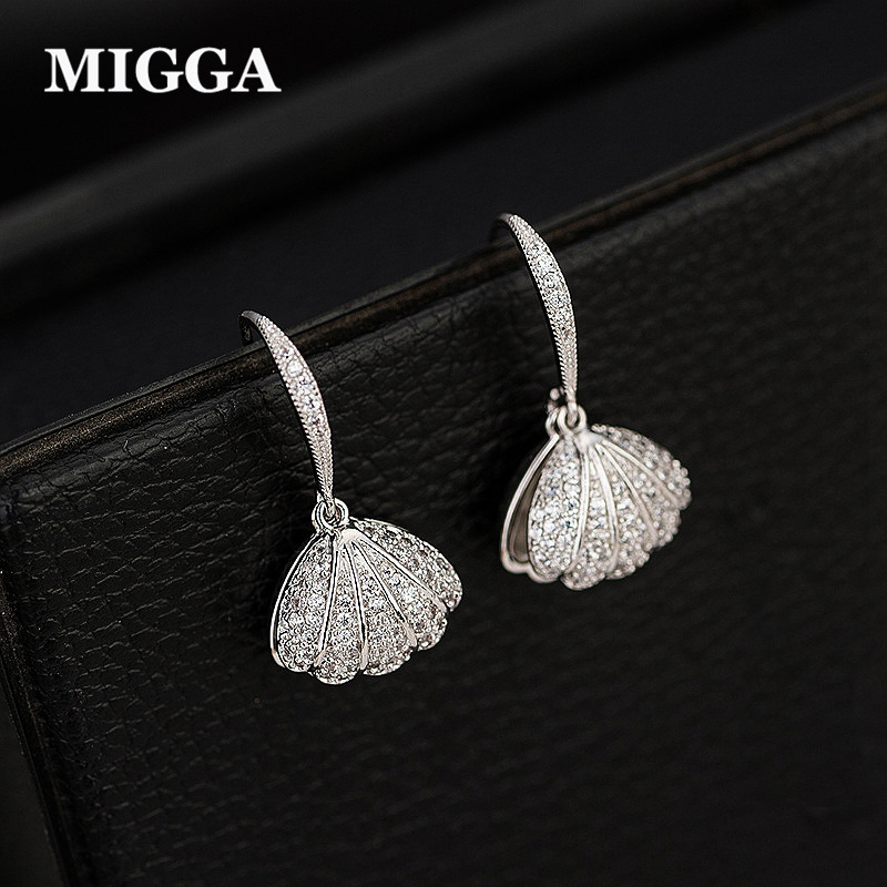 MIGGA Exquisite Zircon Crystal Paved Shell Mussel Dangle Earrings Women Jewelry Simulated Pearl Brincos