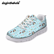 doginthehole Women Walking Shoes Female Sports Gym Fitness Sneaker Nurse Pattern Ladies Summer Outdoor Breathable Flats Shoes