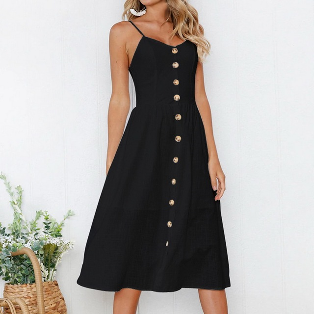 a593452ed8e Laamei Summer Bohemian Beach Dress Women 2019 Vintage Single-Breasted  Sleeveless Party Long Maxi Dress Sexy White Black Sundress