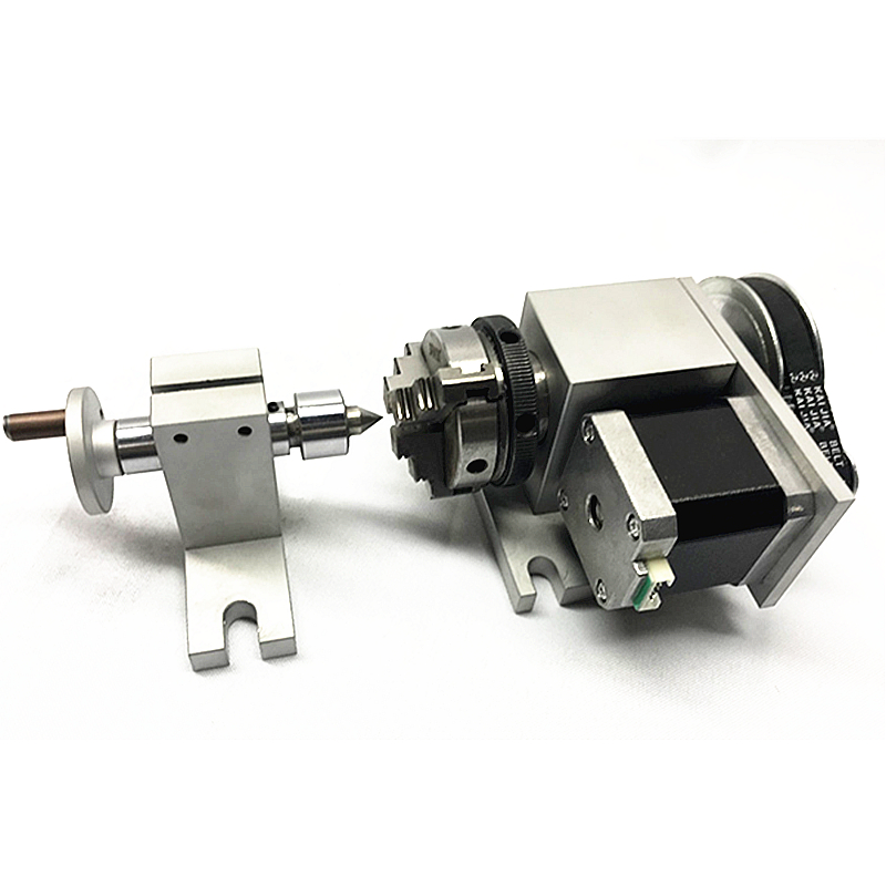 3 jaw chuck 50mm 4th Axis+Tailstock CNC dividing head Rotation Axis kit for Mini CNC router woodworking engraving machine er32 chunk cnc 4th axis tailstock cnc dividing head rotation axis a axis kit for mini cnc router engraver woodworking engraving