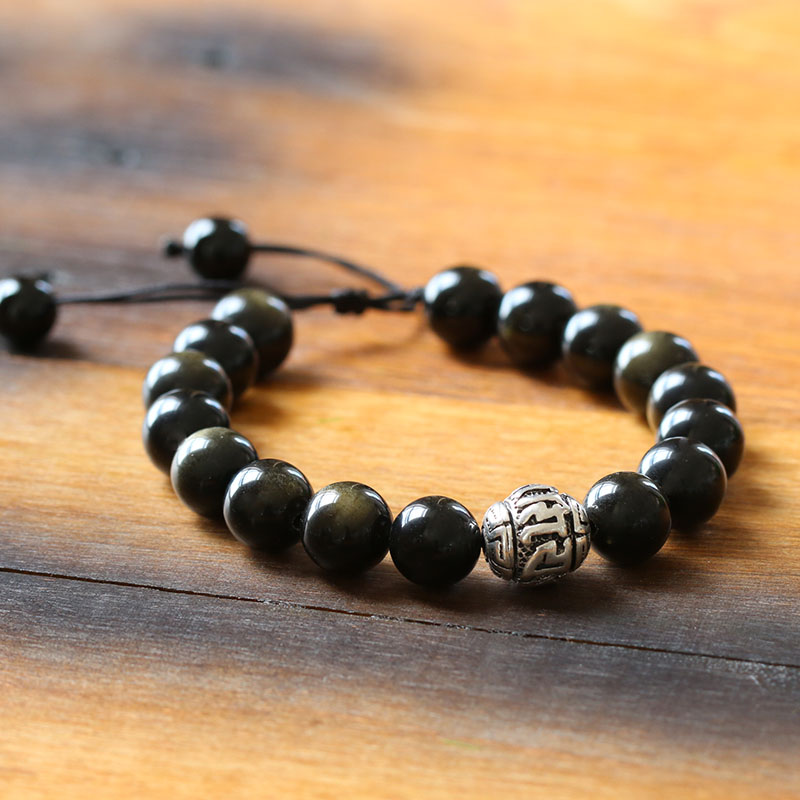 Natrual-Stone-Golden-Obsidian-Beads-Antique-Tiebtan-Silver-OM-Charm-Tibetan-Size-Adjustable-Artisan-Crafted-Jewelry-For-Men--Reikinn-BRL001(2)