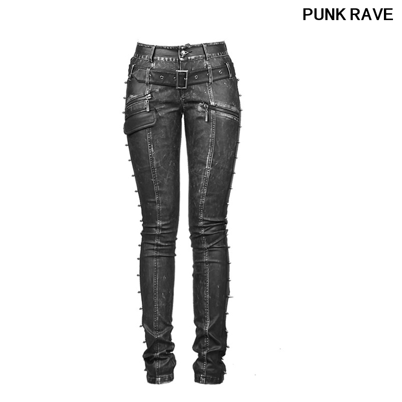 Gothci Style Popular Pantalones Mujer Women Pants Fashion Wild Rock And Roll Skinny Women Leather Pants Punk Rave K-170