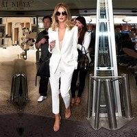 Пользовательские белые брюки костюмы женские деловые костюмы женские зимние официальные костюмы женский Офис Единая рабочая костюмы женс