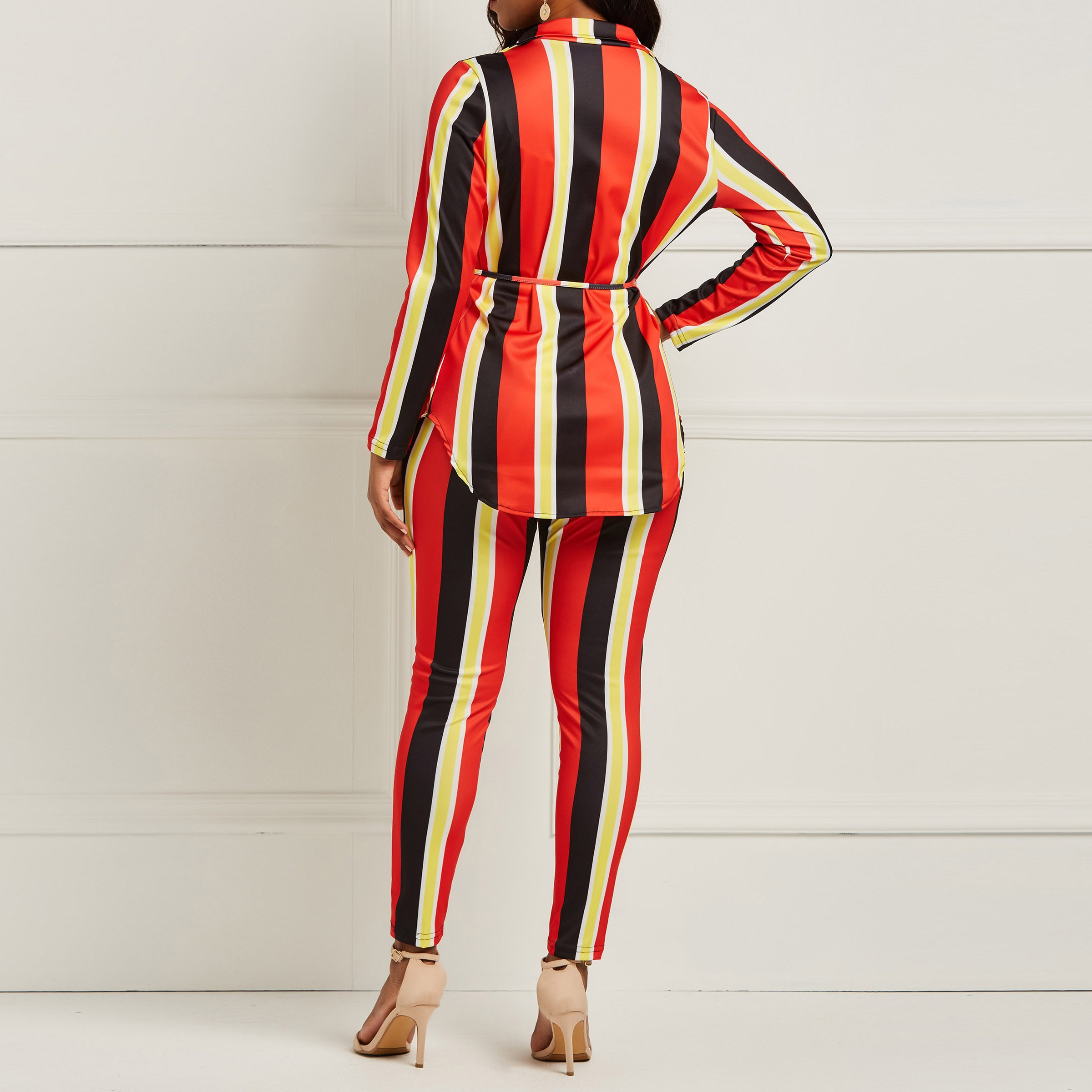 Señora Del Manga Camisa Desgaste Suit Piezas Sexy Rojo La Clocolor Rayas Dos De Oficina Femenina Mujeres Juego Set Moda Pant Larga Pantalones Superior Traje q14zSzBwxT