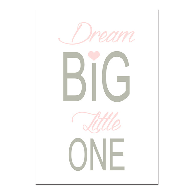 Dream Big Wall Pictures For Living Room Pink Heart Cartoon Nordic Poster Nursery Cuadros Nordic Style Kids Decoration Unframed