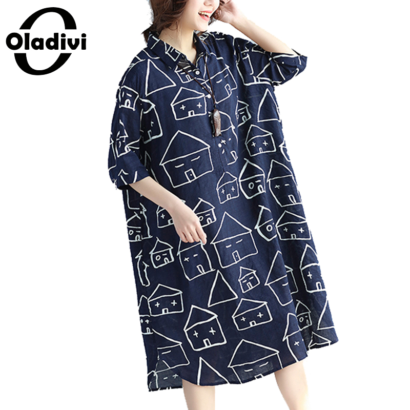 Oladivi Plus Size Women Clothes Ladies Casual Long Top Tunic Dress Fashion Female Loose Shirt Dresses Vestidos Femininos 5XL 4XL