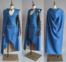 Game of Thrones Daenerys Targaryen Cosplay Costume Blue Dress+Cloak Halloween Customize Any Size
