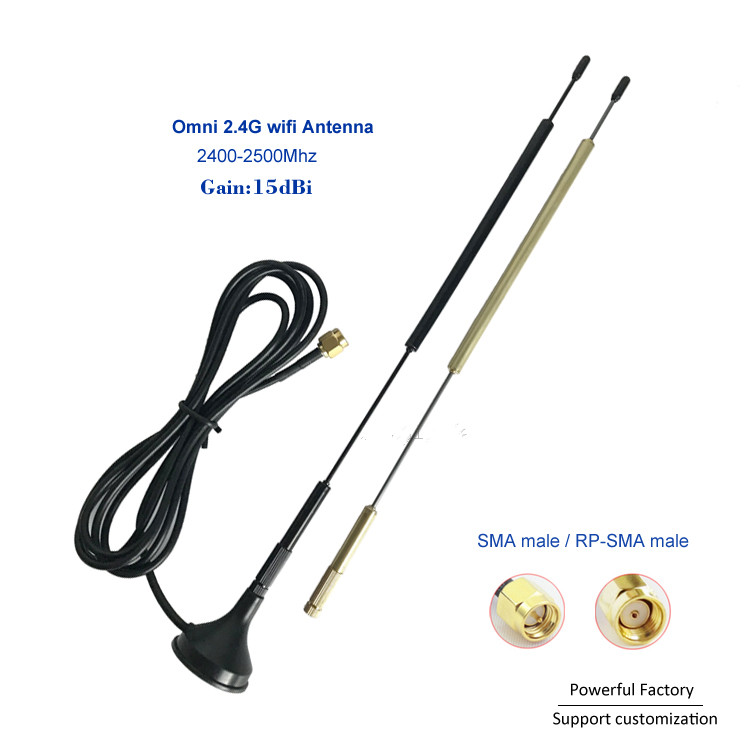 High Gain 15dBi External Omnidirectional 2.4G Wifi Antenna 1.5m Feeder SMA RP-SMA  1PCS