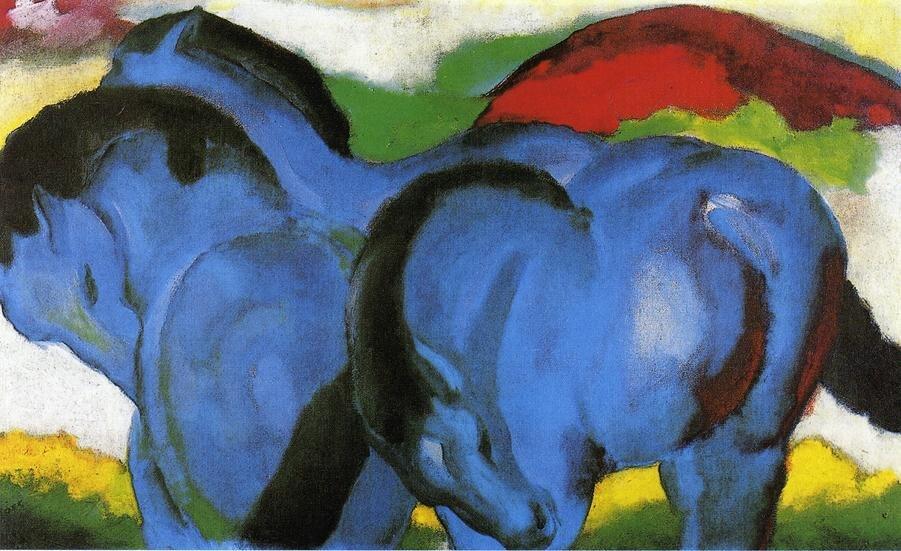 Высокое качество картины маслом холст репродукции маленький синий лошадей 1911 по Франц Марк ручная роспись