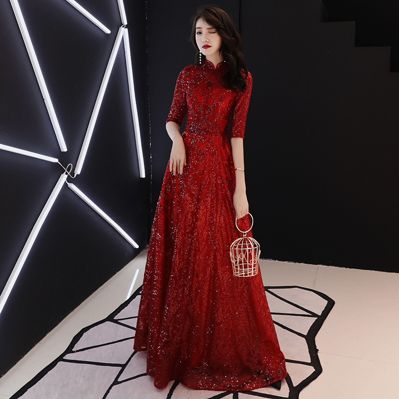 weiyin Robe De Soriee New Wine Red   Evening     Dresses   Straight Half Sleeve High Neck Sexy Contrast Elegant Simple Prom Gown WY742