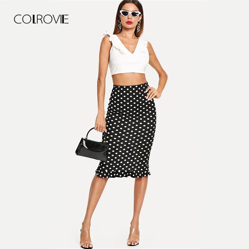 61717c136 COLROVIE Black Slit Back Ruffle Hem Polka Dot Sexy Skirt 2018 Autumn Keen  Length Stretchy Skirt High Waist Elegant Women Skirts-in Skirts from Women's  ...