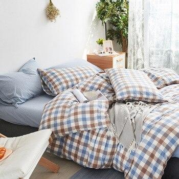 Quality 4pcs Bedding Set Fitted Sheet Quilt Duvet Cover Pillowcase Pillow Sham 100% Cotton Washable No Chemical Big Small Plaid