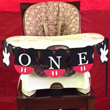 Hot Sale Mickey Mouse Highchair Banner First Birthday Party Decoration 1st Flag Baby Shower ONE