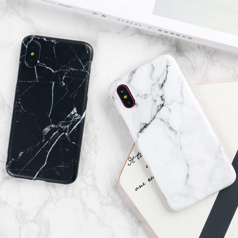 حافظة هاتف فاخرة من الرخام i 8 لهاتف آيفون 8 Plus حافظة لهاتف iPhone8 Plus ملحقات هاتف سوداء Coque X 7 Plus 6 6S SE 2020