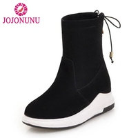 FITWEE Women Half Short Stretch Boots Fashion Bowknot Winter Shoes Women Round Toe Zipper Warm Shoes Flats Boots Size 34 39