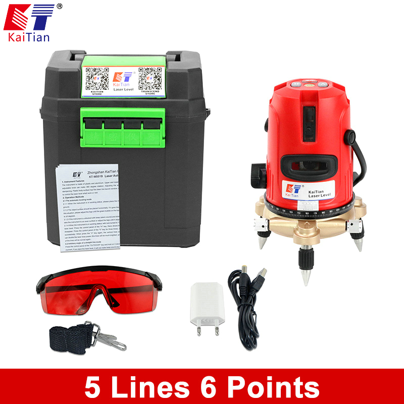Kaitian 5 lines 6 points Laser 360 Rotary 635nm Self leveling Laser Level outdoor mode Tilt slash Vertical Horizontal Laser Beam quality mtian level laser 5 lines 6 points instrument levels 360 self rotary 635nm corss line lazer level tools fast delivery