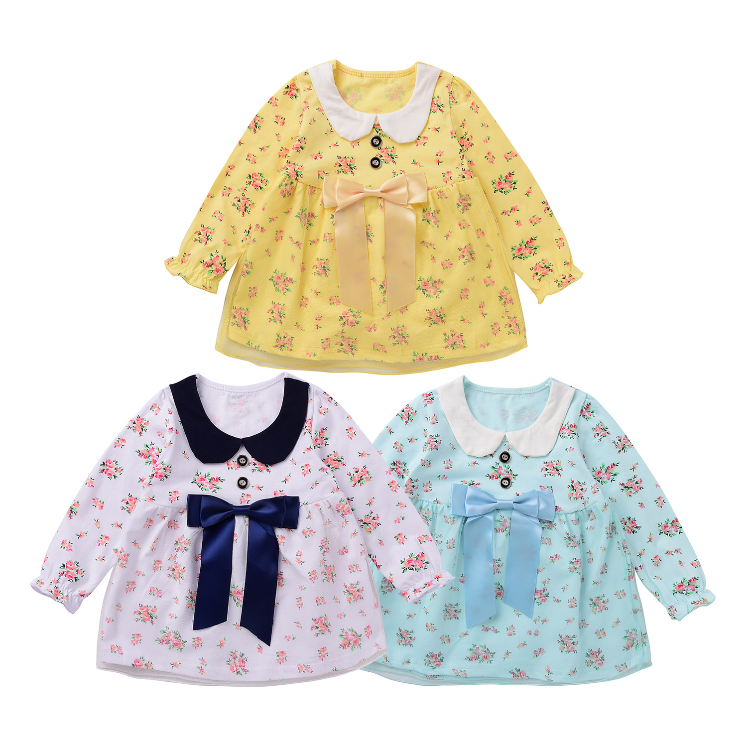 Fashion Baby Clothes Floral Baby Dress Girls Cotton Long Sleeve