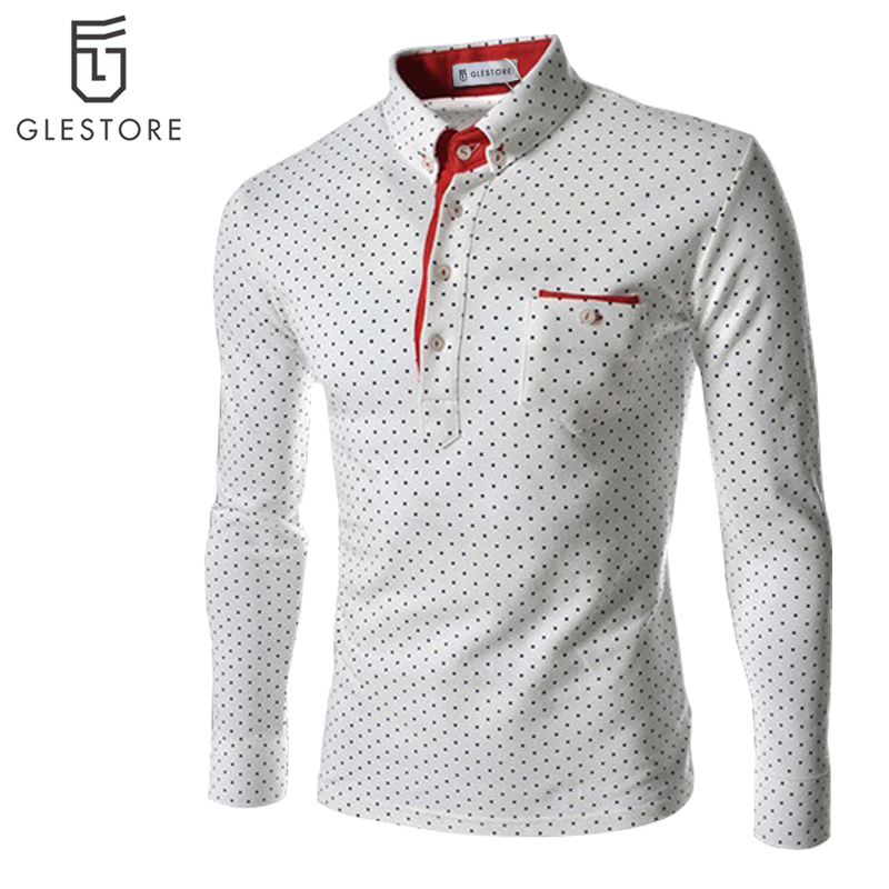 Glestore mens dots polo shirt men brand clothing long for Polo brand polo shirts