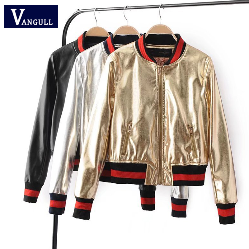 Casual Fashion Autumn & Winter Women's Clothing short Faux Leather Jackets Zipper V Neck Sliver Gold solid Female Coats
