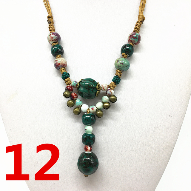 Fashion Ceramics Beads Pendant Ethnic Long Necklace Chain Deep green Jewelry Style DIY #04