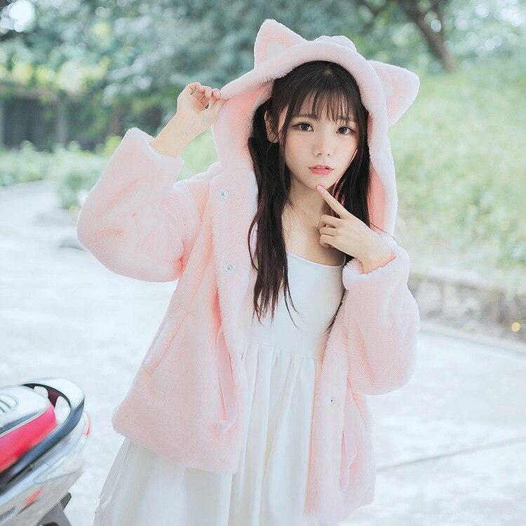 Hiver chaud doux manteaux pour belle filles étudiant imitation fourrure de lapin polaire à capuche avec des oreilles de chat mignon veste courte poilu