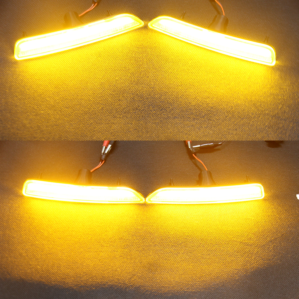 2pcsset clear lens front side marker lamps with 27 smd amber led lights for ford mustang front bumper replace halogenin signal lamp from