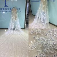 Luxury Bridal Veils Cathedral Length With Free Comb 5 M Long White Ivory Lace Applique Beads Crystal Wedding Veils